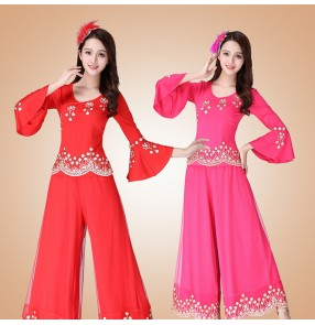 Women's Chinese folk dance costumes square dance costumes female stage performance tops and pants